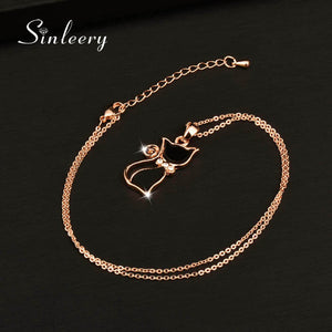 Black Cat Necklace with Rose Gold Chain