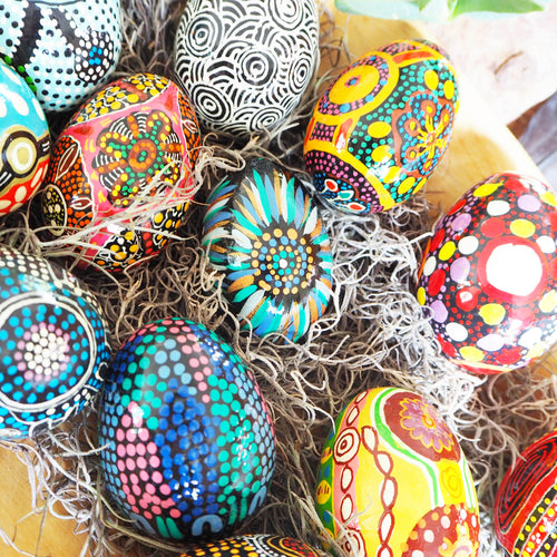 Hand painted Aboriginal art decorative eggs