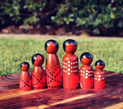 Aboriginal Peg Dolls - Red