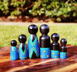 Aboriginal Peg Dolls - Blue