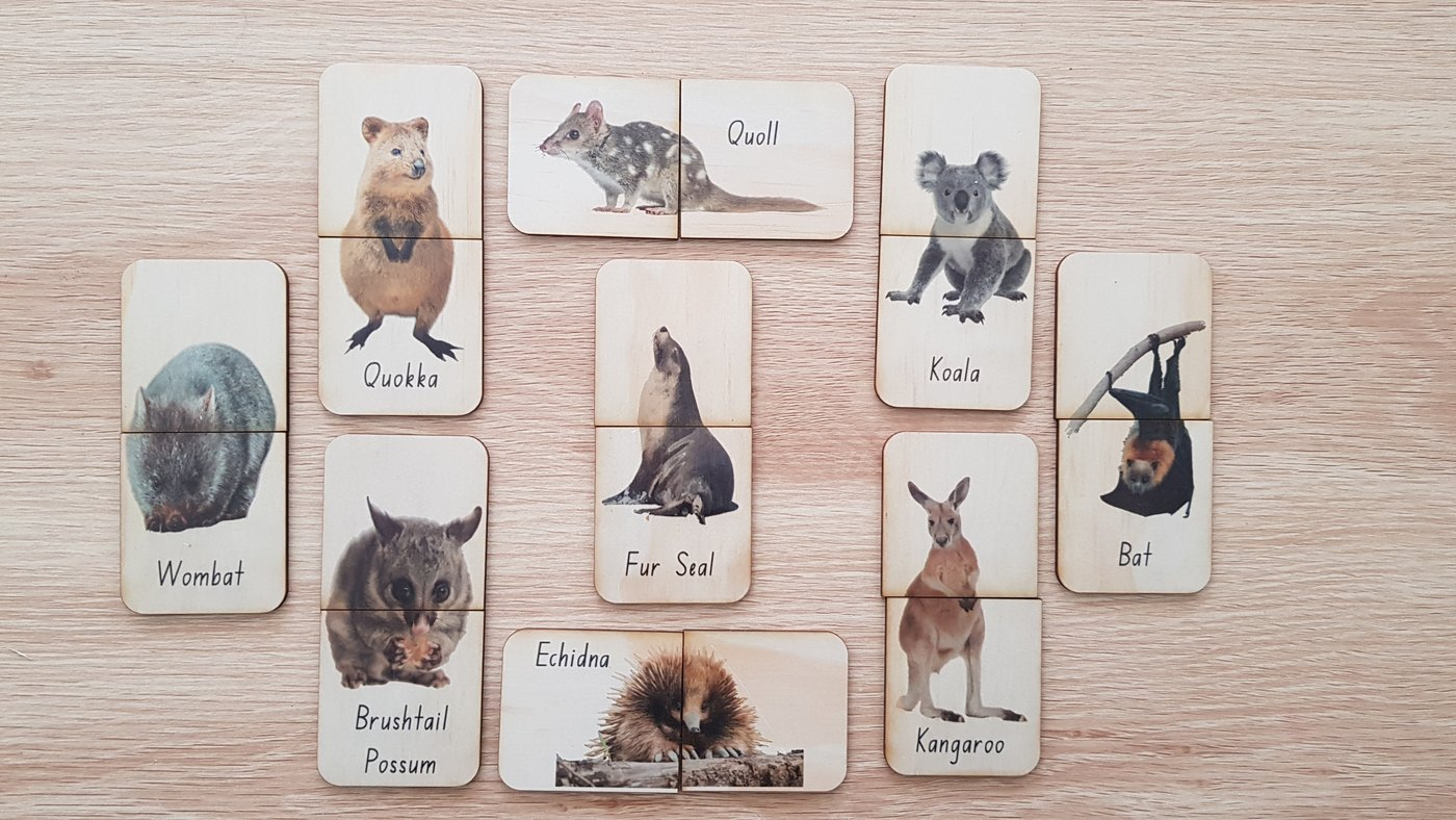 18 Piece Australian Themed Matching Puzzles - Furry