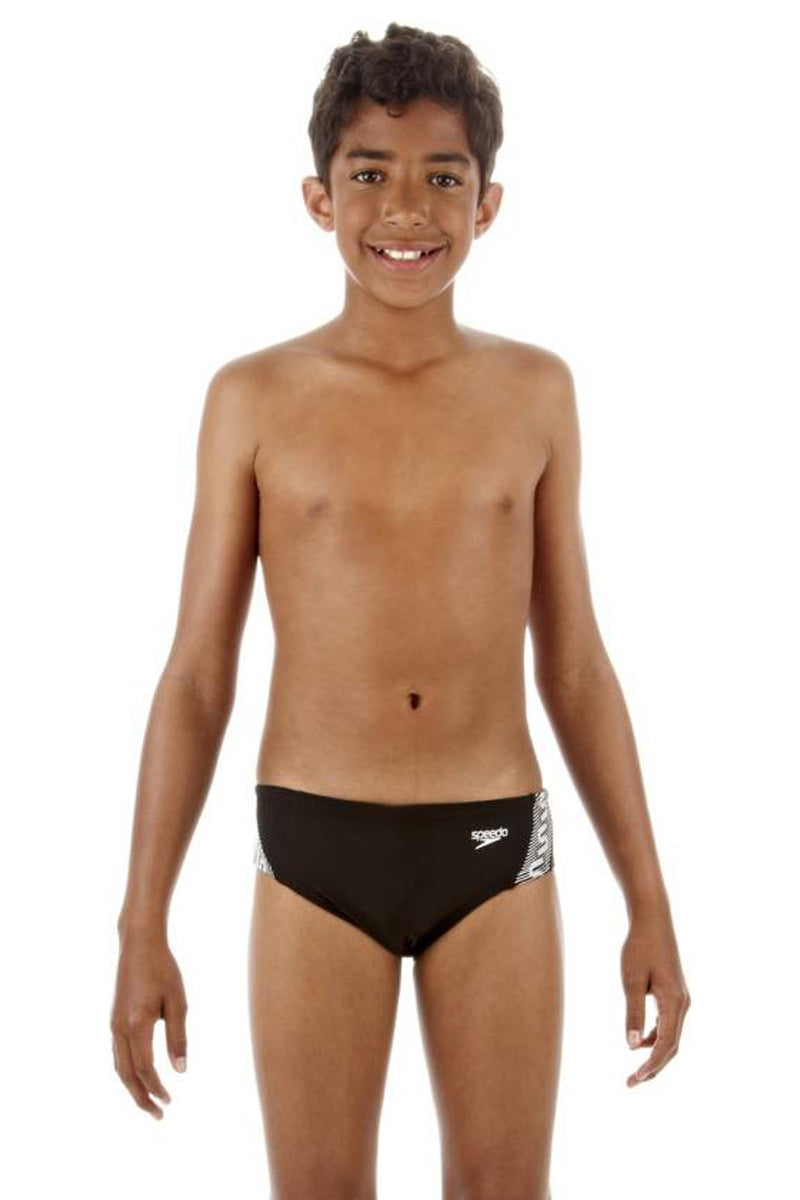 Speedo Boys Black Monogram 6 5cm Brief