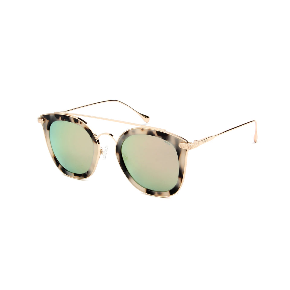 Julie Cream Tortoise - Angle View - Pink Mirror lens - Mawu Sunglasses