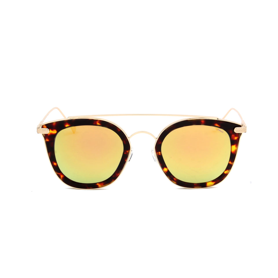 Julie Dark Tortoise - Front View - Gold Mirror lens - Mawu Sunglasses