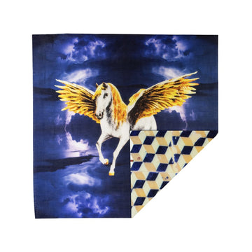 Talking Walls ava double face double face square scarf azuleo pegasus