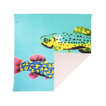 Talking Walls ava double face double face square scarf pesca aqua pink