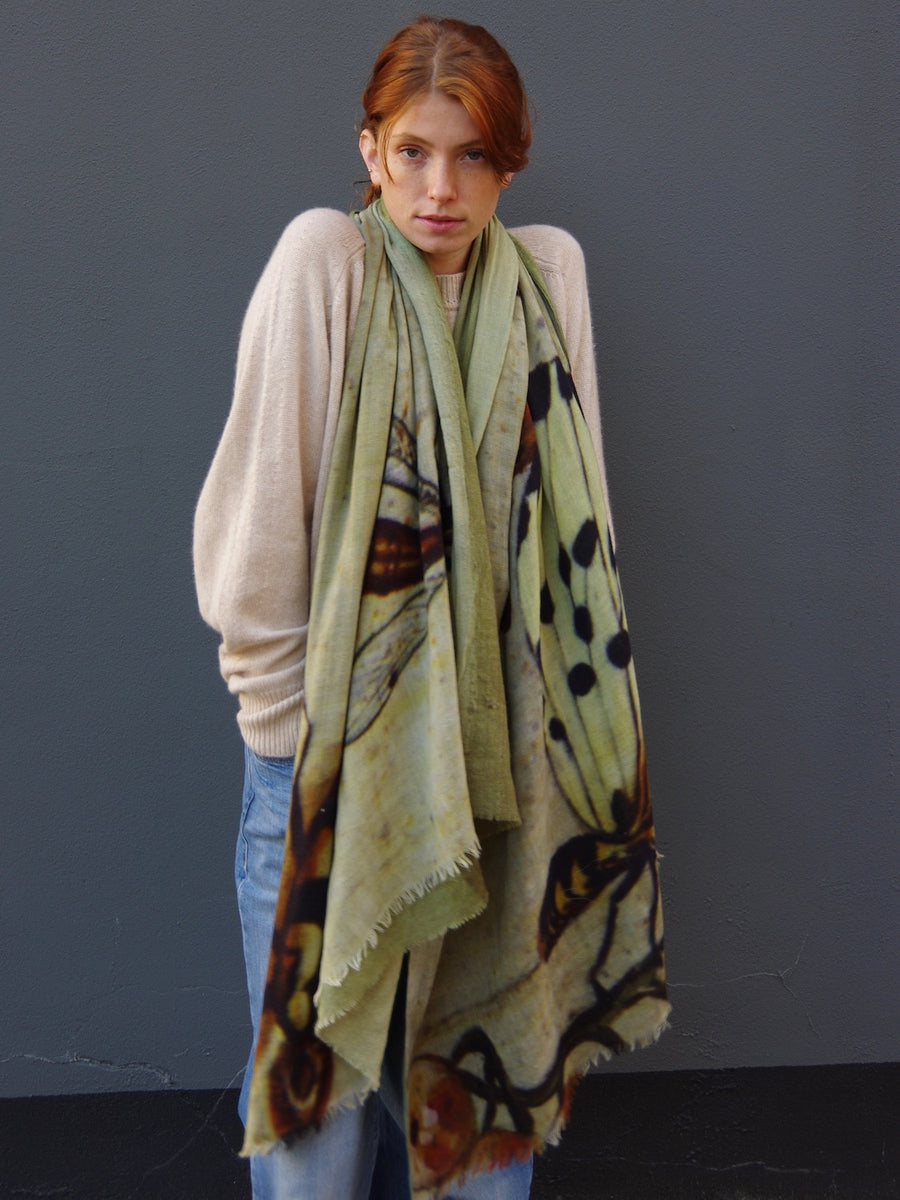 Talking Walls lana double face double face rectangular scarf butterfly light khaki