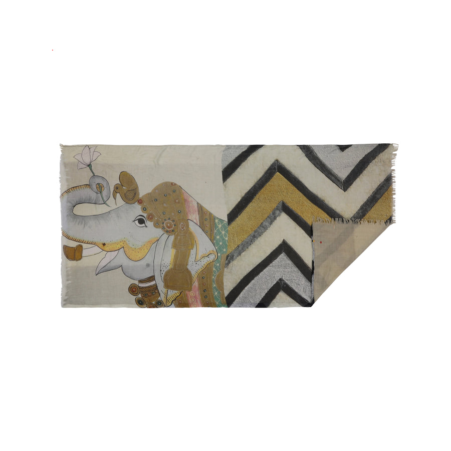 Talking Walls luna double face double face rectangular scarf jumbo taj sand
