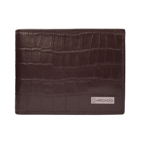 CROCK 'N' ROLL Bifold Croc Pattern Leather Wallet - ARW1003BR - ARCADIO LIFESTYLE