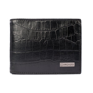CROCK 'N' ROLL Bifold Croc Pattern Leather Wallet - ARW1003BK