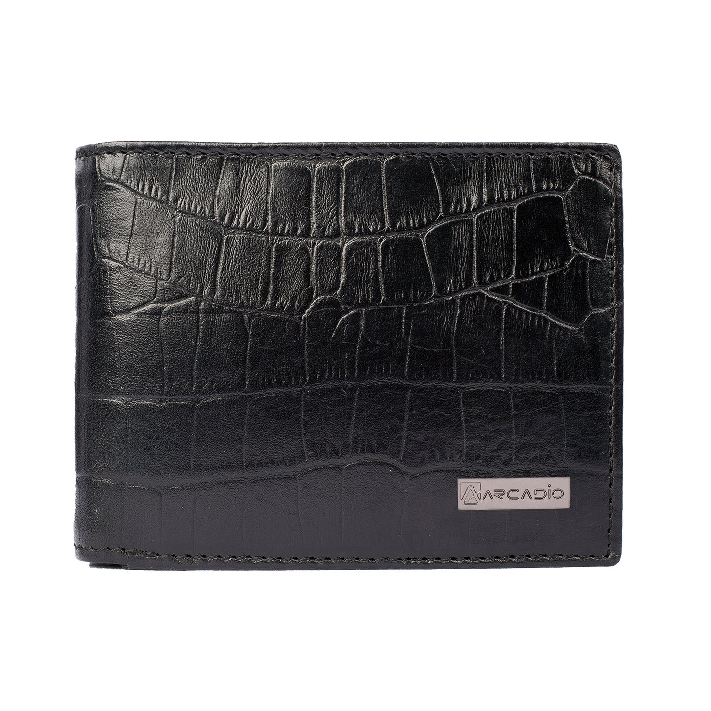 CROCK 'N' ROLL Bifold Croc Pattern Leather Wallet - ARW1003BK - ARCADIO LIFESTYLE