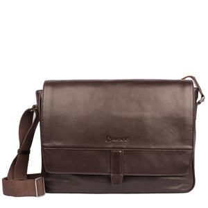 BUSINESS BARON-Flip Opening Leather Business Bag ARBB-108BR - ARCADIO LIFESTYLE