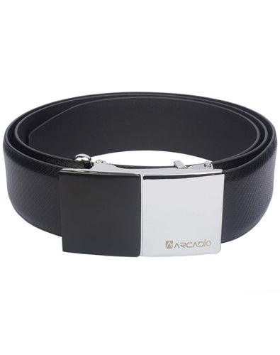 SIZZLING BEZZLE - Bezzle Cut Buckle Leather Belt - ARB1009BK - ARCADIO LIFESTYLE
