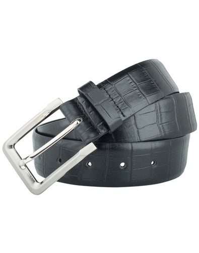CLASSIC CROC - Croc Pattern Leather Belt - ARB1012BK - ARCADIO LIFESTYLE