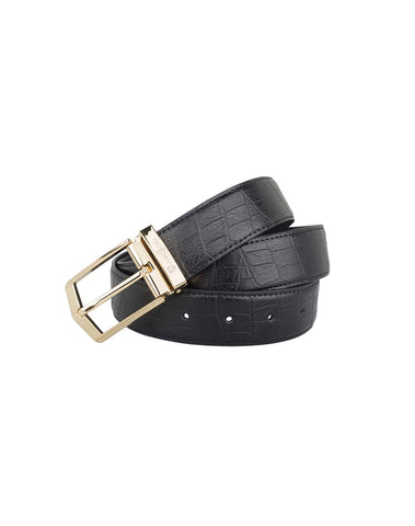 ARB1027 Golden Buckle Tailored Croc Leather Belt