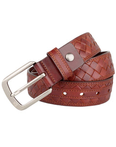 ARB1032 Contrast Stitch Leather Belt - ARCADIO LIFESTYLE