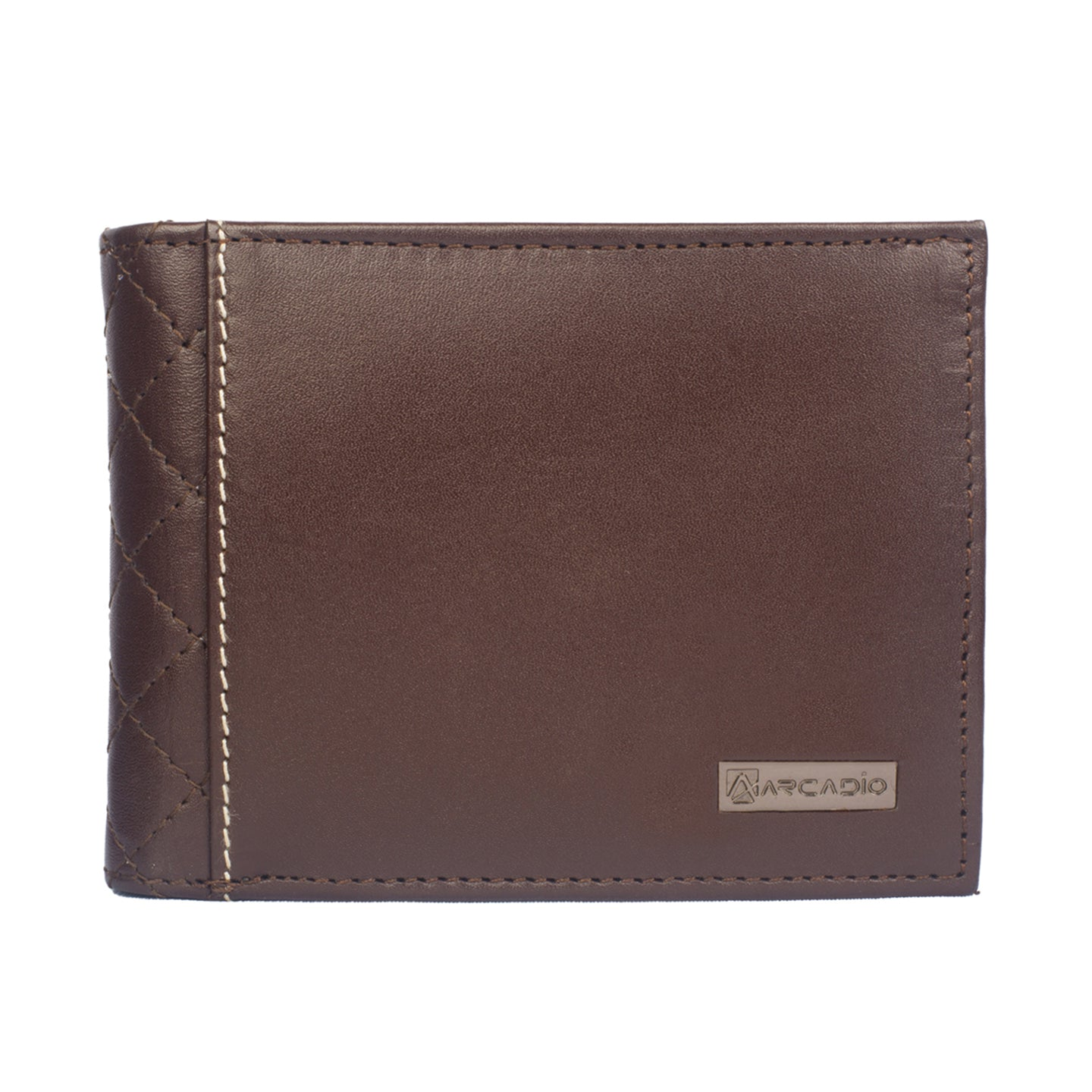 DIAMOND DESIRE Bifold Diamond Stitch Leather Wallet - ARW1001BR - ARCADIO LIFESTYLE