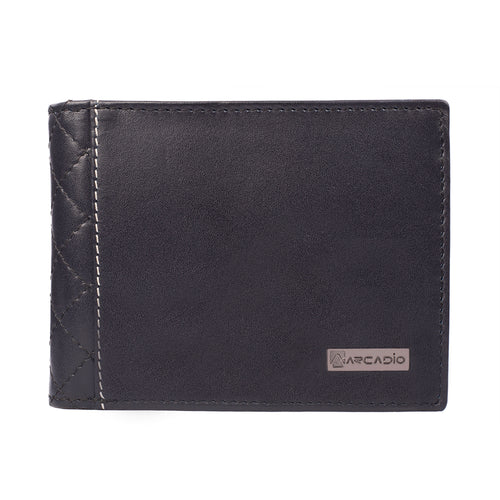 DIAMOND CRUSH Bifold Diamond Stitch Leather Wallet - ARW1001NV - ARCADIO LIFESTYLE