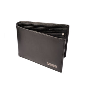 BLACK MAGIC Bifold Plain Black Leather Wallet - ARW1002BK