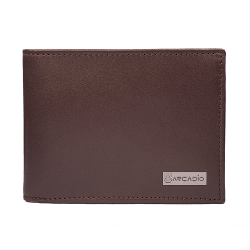 BROWNIE Bifold Plain Brown Leather Wallet - ARW1002BR - ARCADIO LIFESTYLE