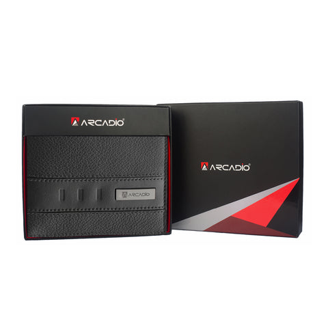 TWOGETHER Bifold Dual Toned Leather Wallet - ARW1010BK - ARCADIO LIFESTYLE