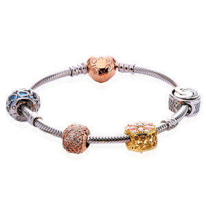 Charm Bracelet with ARCADIO Rose Heart Clasp and Four Charms- ARJWVB1063RD - ARCADIO LIFESTYLE