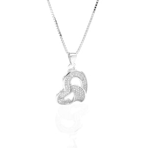 Classic One Sided Bent Heart Shaped Pendant Necklace and Earrings Set - ARJW1014RD
