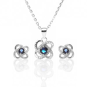 Four Leaf Clover Sapphire Pendant and Earrings Set - ARJW1005RD
