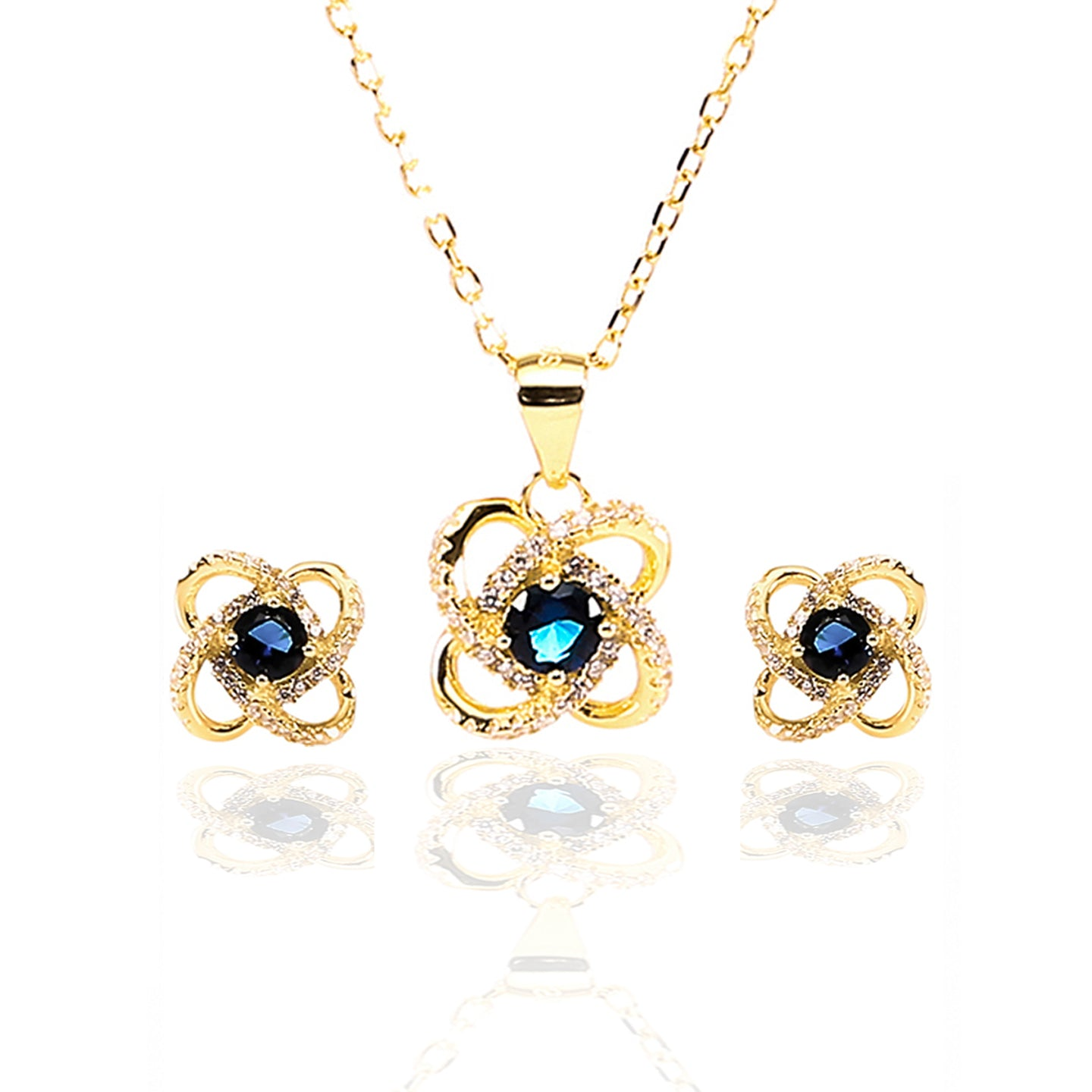 Four Leaf Clover Sapphire Pendant and Earrings Set - ARJW1005GD - ARCADIO LIFESTYLE