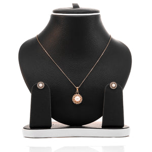 Freshwater White Pearl Pendant and Earrings Set - ARJW1002RG