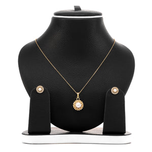 Freshwater White Pearl Pendant and Earrings Set - ARJW1002GD