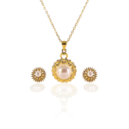 Freshwater White Pearl Pendant and Earrings Set - ARJW1002GD - ARCADIO LIFESTYLE