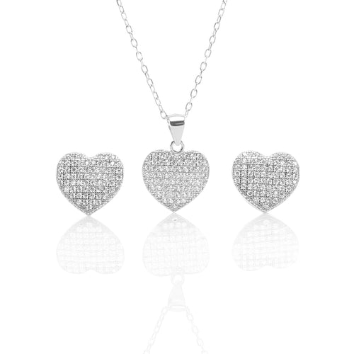 Heart Shaped Pendant Necklace and Earring Set - ARJW1009RD