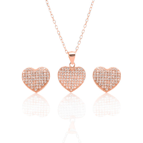 Heart Shaped Pendant Necklace and Earrings Set - ARJW1009RG - ARCADIO LIFESTYLE