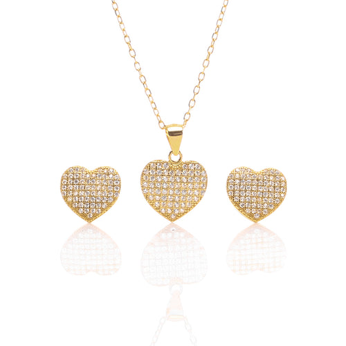 Heart Shaped Pendant Necklace and Earrings Set - ARJW1009GD - ARCADIO LIFESTYLE