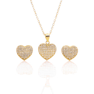 Heart Shaped Pendant Necklace and Earrings Set - ARJW1009GD