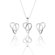 Ribbons of Love Pendant Necklace and Earrings Set - ARJW1007RD - ARCADIO LIFESTYLE