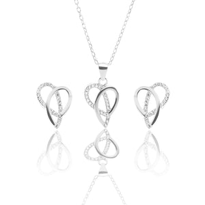 Ribbons of Love Pendant Necklace and Earrings Set - ARJW1007RD