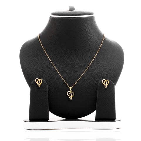 Ribbons of Love Pendant Necklace and Earrings Set - ARJW1007GD