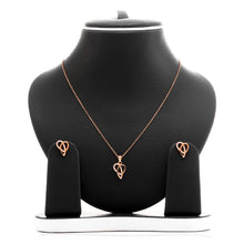 Ribbons of Love Pendant Necklace and Earrings Set - ARJW1007RG - ARCADIO LIFESTYLE
