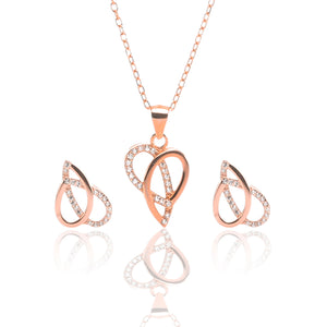 Ribbons of Love Pendant Necklace and Earrings Set - ARJW1007RG