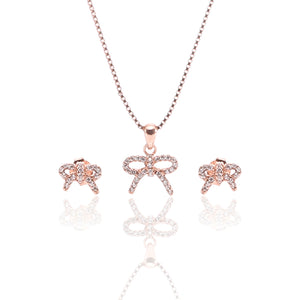 Sparkling Bow Pendant Necklace and Earrings Set - ARJW1010RG