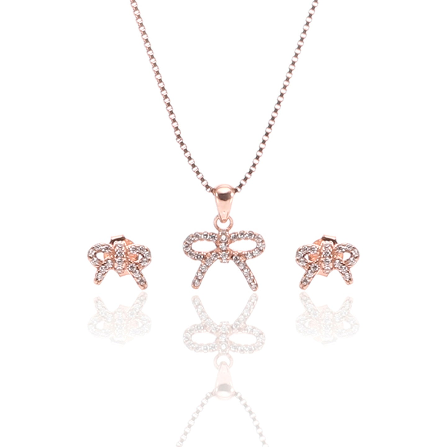 Sparkling Bow Pendant Necklace and Earrings Set - ARJW1010RG - ARCADIO LIFESTYLE