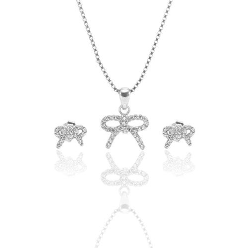 Sparkling Bow Pendant Necklace and Earrings Set - ARJW1010RD