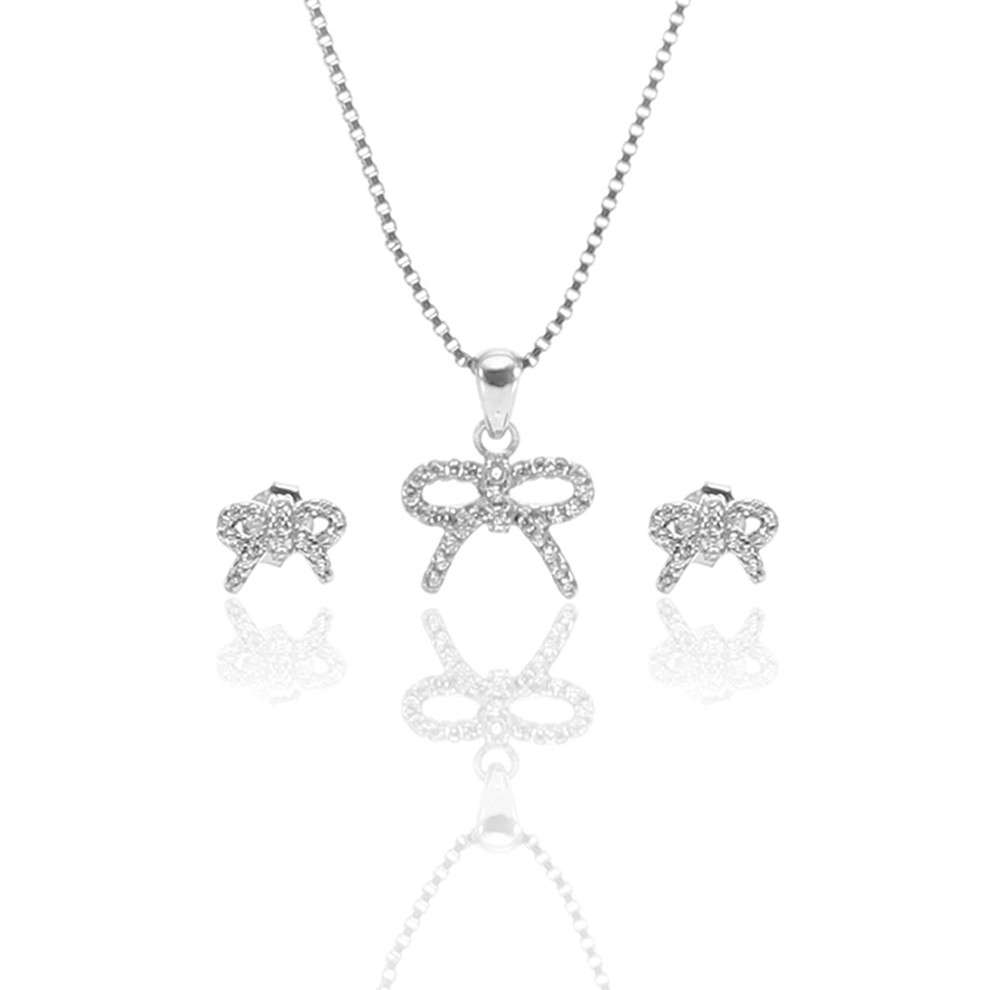 Sparkling Bow Pendant Necklace and Earrings Set - ARJW1010RD - ARCADIO LIFESTYLE