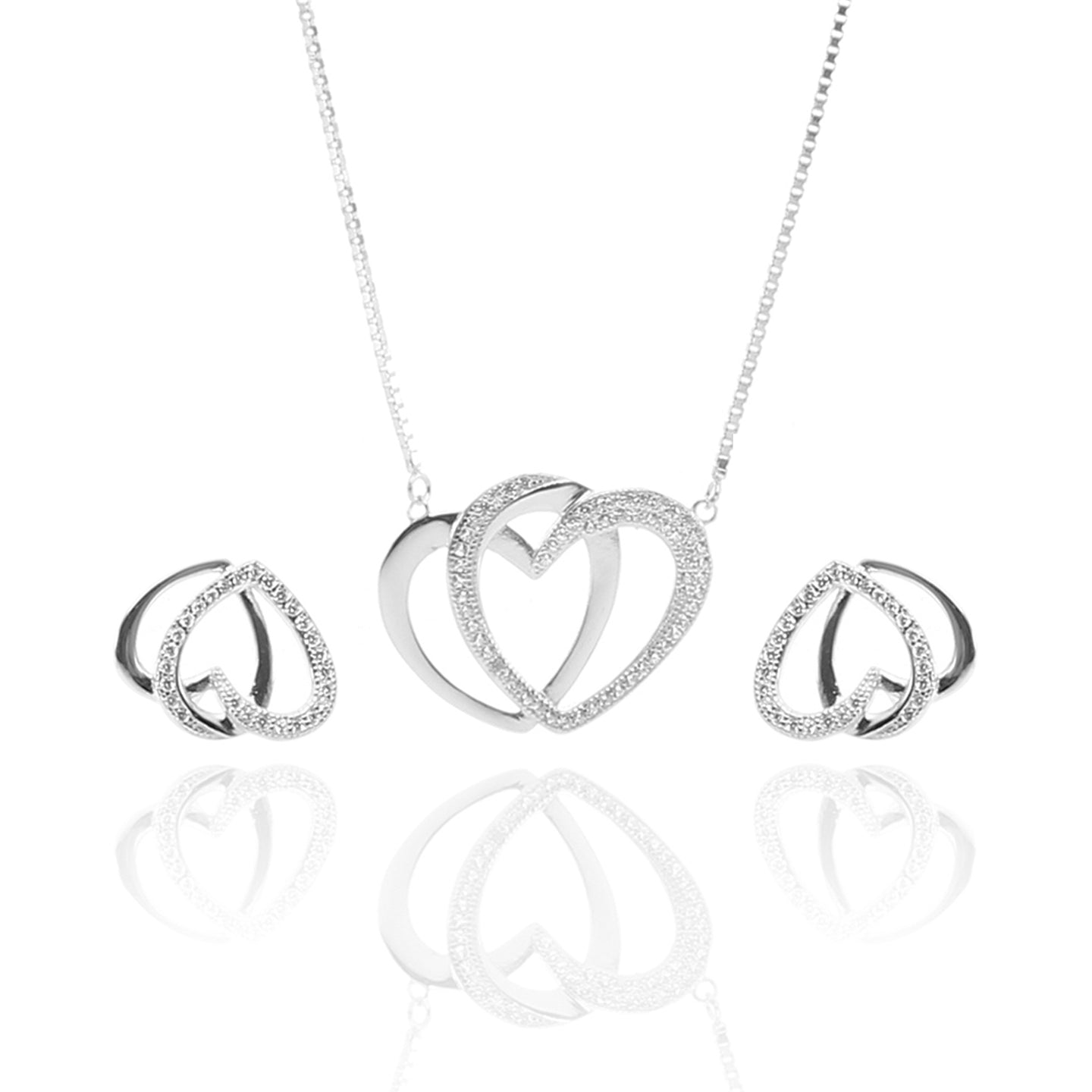 Interlocking Hearts Pendant Necklace and Earrings Set - ARJW1025RD