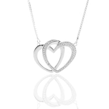 Interlocking Hearts Pendant Necklace and Earrings Set - ARJW1025RD - ARCADIO LIFESTYLE