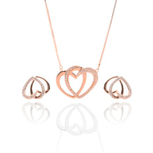 Interlocking Hearts Pendant Necklace and Earrings Set - ARJW1025RG