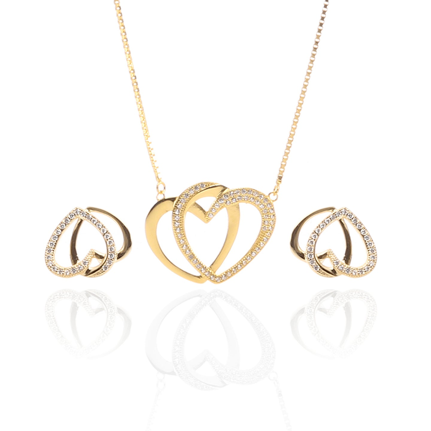 Interlocking Hearts Pendant Necklace and Earrings Set - ARJW1025GD - ARCADIO LIFESTYLE