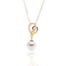 Open Heart Freshwater Hanging Pearl Pendant Necklace and Earrings Set - ARJW1026GD - ARCADIO LIFESTYLE